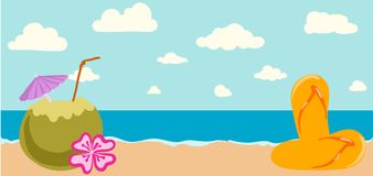 Vector illustration of Summer tropical banner Stock Photography