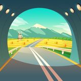 Vector illustration of village landscape, view from exit of road tunnel. Farm with mill, wheat field with sky, mountain. Vector illustration of summer village Stock Photography