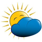 Vector illustration. sun behind a cloud Royalty Free Stock Photography