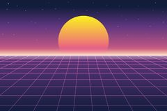 Sun and digital landscape in retro futuristic background 1980s style. Vector illustration of sun and digital landscape in retro futuristic background 1980s style royalty free illustration