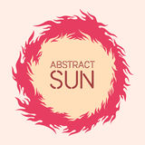 Vector illustration of the sun. Fire circle frame. Sun shape or flame border with space for text. Fire flames of different shapes isolated on background Royalty Free Stock Photo