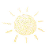 Vector illustration of the sun in retro dotted style Stock Image