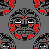 Vector illustration of the sun symbol. Modern stylization of North American and Canadian native art in black and red with native ornament seamless pattern Royalty Free Illustration