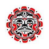 Vector illustration of the sun symbol. Modern stylization of North American and Canadian native art in black red and white vector illustration