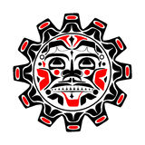 Vector illustration of the sun symbol. Modern stylization of North American and Canadian native art in black red and white Royalty Free Stock Images