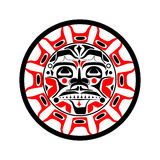 Vector illustration of the sun symbol. Modern stylization of North American and Canadian native art in black red and white Royalty Free Stock Photo