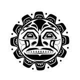 Vector illustration of the sun symbol. Modern stylization of North American and Canadian native art in black and white vector illustration