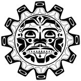 Vector illustration of the sun symbol. Modern stylization of North American and Canadian native art in black and white Stock Image