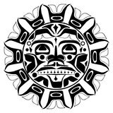 Vector illustration of the sun symbol. Modern stylization of North American and Canadian native art in black and white Royalty Free Illustration