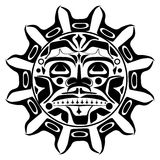 Vector illustration of the sun symbol. Modern stylization of North American and Canadian native art in black and white Stock Images