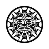 Vector illustration of the sun symbol. Modern stylization of North American and Canadian native art in black and white Royalty Free Stock Images