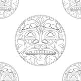 Vector illustration of the sun symbol. Modern stylization of North American and Canadian native art i with native ornament seamless pattern stock illustration
