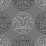 Vector illustration of the sun symbol. Modern stylization of North American and Canadian native art i with native ornament seamless pattern Royalty Free Illustration