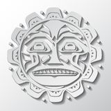 Vector illustration of the sun symbol. Modern stylization of North American and Canadian native art in white cut out Vector Illustration