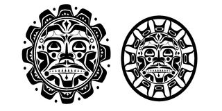 Vector illustration of the sun symbol. Set Vector illustrations of the sun symbol. Modern stylization of North American and Canadian native art in black and Royalty Free Stock Photography