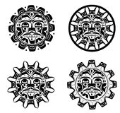 Vector illustration of the sun symbol. Set Vector illustrations of the sun symbol. Modern stylization of North American and Canadian native art in black and royalty free illustration