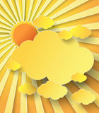 Vector illustration  sunburst over clouds Royalty Free Stock Images