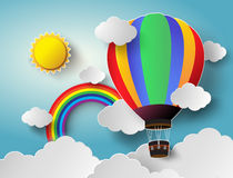 Vector illustration sunlight on cloud with hot air balloon. Paper cut style stock illustration