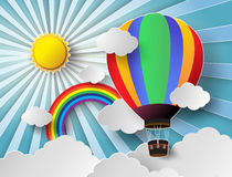 Vector illustration sunlight on cloud with hot air balloon. Stock Image