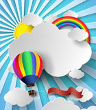 Vector illustration sunlight on cloud with hot air balloon. Paper cut style Stock Photography