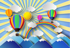 Vector illustration sunlight on cloud with hot air balloon. Paper cut style Stock Images