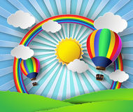 Vector illustration sunlight on cloud with hot air balloon. Paper cut style royalty free illustration