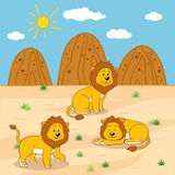 Vector illustration (sunny safari day with lions). Vector illustration (sunny safari day with three lions royalty free illustration