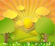 Vector illustration sunrise over fields. Paper cut style stock illustration