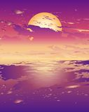 Vector illustration of a sunset. Vector illustration of a purple tone sunset Stock Illustration