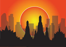 Vector illustration sunset city life building highrise concept Royalty Free Stock Photo