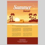 Vector Illustration of sunset sea island. Vector Illustration of the sunset on the sea island beach background with words Summer Sunset Stock Image