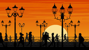 Vector illustration of sunset seafront street with people. Royalty Free Stock Photo