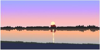 Beautiful sunset vector stock illustration