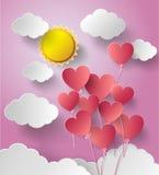 Vector illustration sunshine with balloon heart. Paper cut style vector illustration
