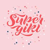 Vector illustration of Super Girl title for kids clothes vector illustration