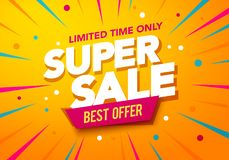 Free Vector Illustration Super Sale Banner Template Design, Big Sales Special Offer. End Of Season Party Background Royalty Free Stock Image - 136119596