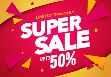 Vector illustration super sale banner template design, Big sales special offer. end of season party background. Vector illustration cool super sale banner royalty free illustration
