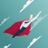 Vector illustration of Superhero businessman is flying Stock Photos