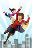 Super mom. A vector illustration of superhero mom concept Royalty Free Stock Image