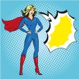 Vector illustration of superwoman in retro pop art comic style. Beautiful girl in superhero costume Royalty Free Stock Photo