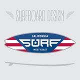 Vector illustration for surf board design. California west coast Royalty Free Stock Image