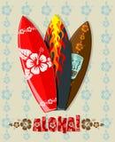 Vector illustration of surf boards. Vector illustration of aloha surf boards Royalty Free Stock Photography