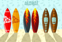Vector illustration of surf boards. Vector illustration of aloha surf boards on the beach Royalty Free Stock Photo