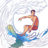 Vector illustration of a surfer Stock Photos