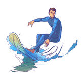 Vector illustration of a surfer Stock Photography