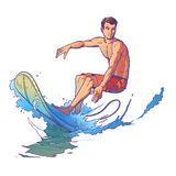 Vector illustration of a surfer Royalty Free Stock Images