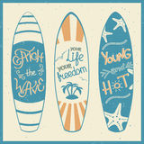 Vector illustration of surfing boards with lettering. Stock Photo