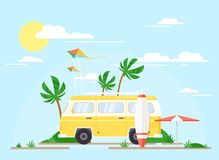 Vector illustration of Surfing bus on palm beach, summer concept. Vintage yellow trailer with surfing board, trip. Concept, summertime royalty free illustration