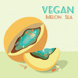 Vector illustration of surreal melon. Vegan  greeting card Stock Image