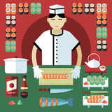 Vector illustration of sushi master and Japanese food stuff. Stock Photos